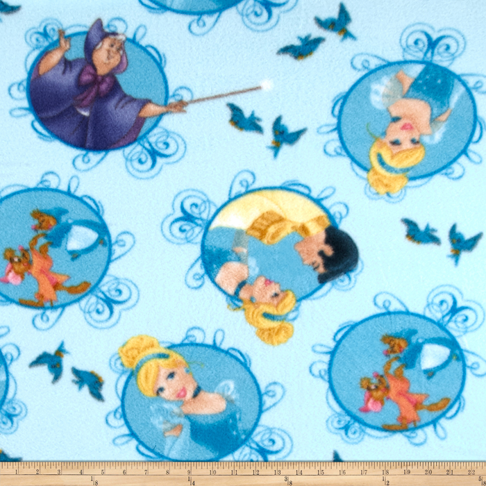 Disney Cinderella Fleece Cinderella Badge Blue Fabric