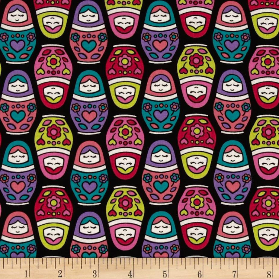 Timeless Treasures Russian Dolls Black
