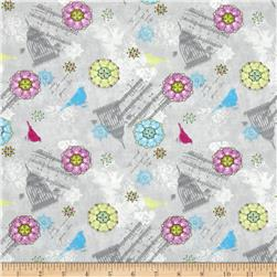 Song Birds Flowers Grey/Multi