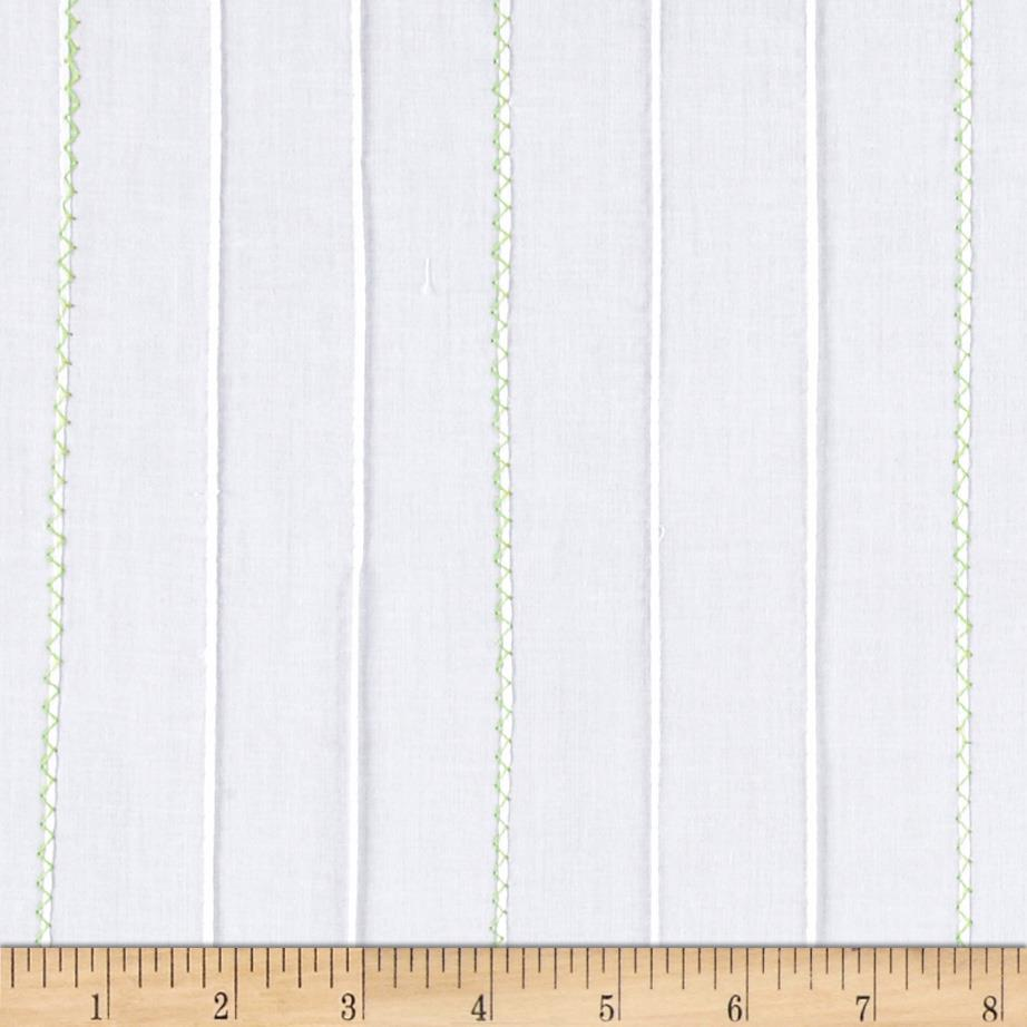 Kaufman Rick Rack & Ribbons Pintuck Lawn White/Moss