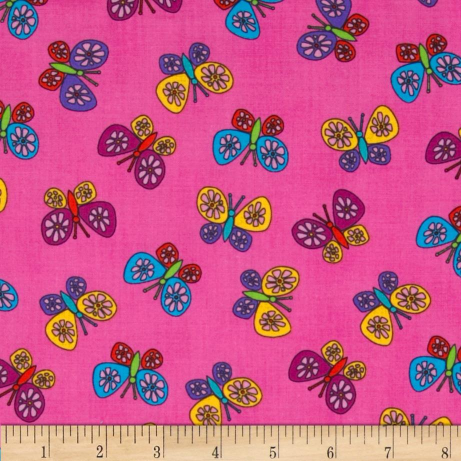 Timeless Treasures Kidz Butterflies Pink