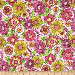 Comfy Flannel Bursting Flowers Pink