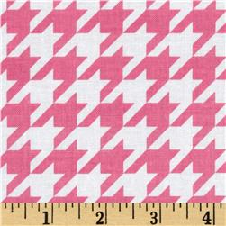 Riley Blake Medium Houndstooth Hot Pink Fabric