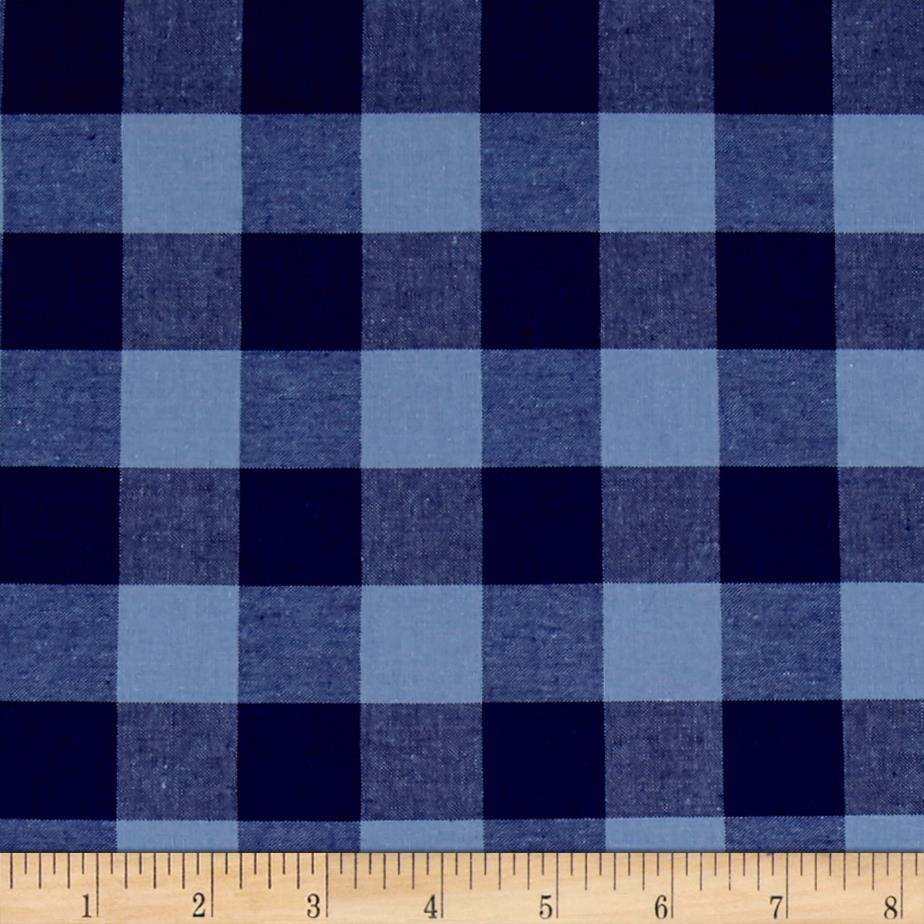Cotton + Steel Checkers Yarn Dyed Woven 1'' Navy Fabric By The Yard