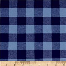 "Cotton + Steel Checkers Yarn Dyed Woven 1"" Navy"