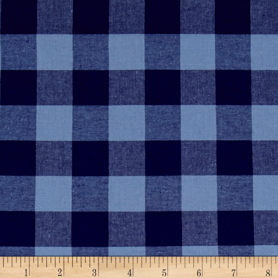 Cotton + Steel Checkers Yarn Dyed Woven 1'' Navy Fabric by Cotton & Steel in USA