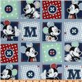 Mickey Mouse Plaid Dots Patch Blue