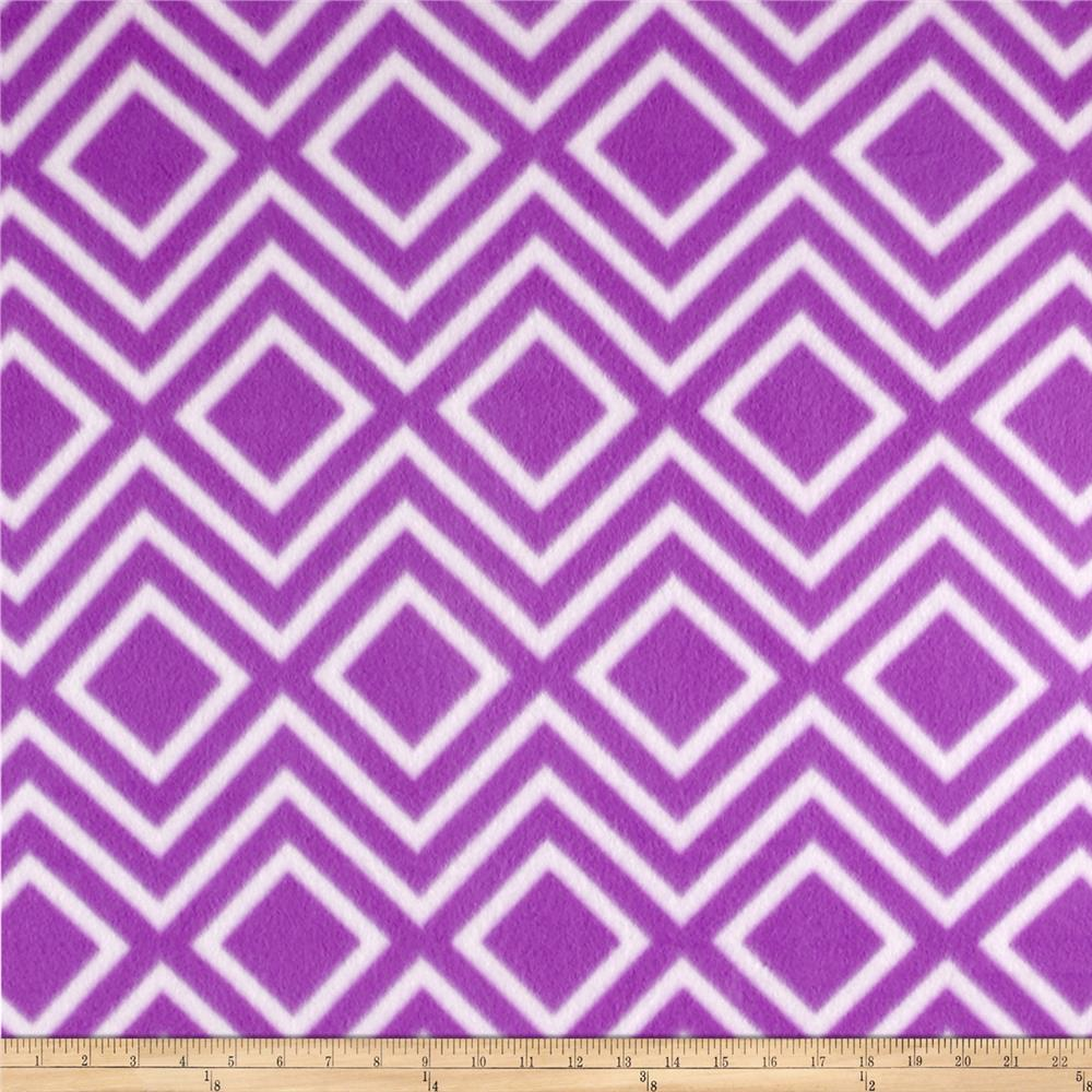 Polar Fleece Print Diamond Tile Purple Fabric By The Yard