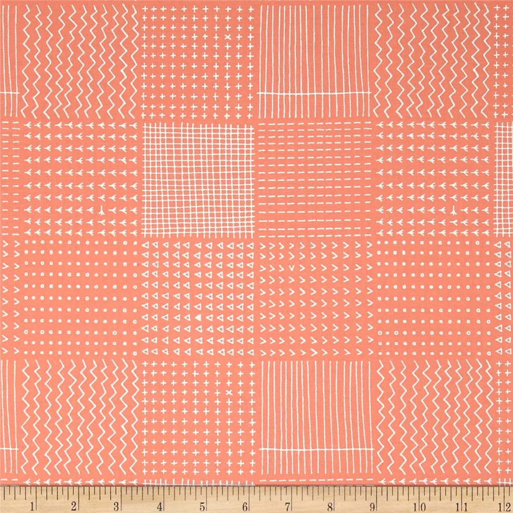 Kaufman Blueberry Park Geo Plaid Creamsicle
