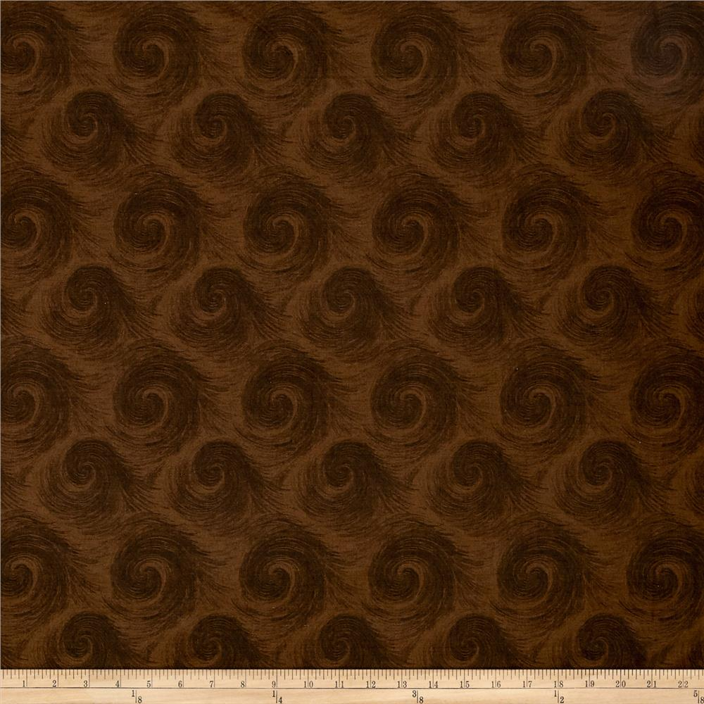 "Breezy 108"" Wide Back Circular Print Dark Brown On Brown"