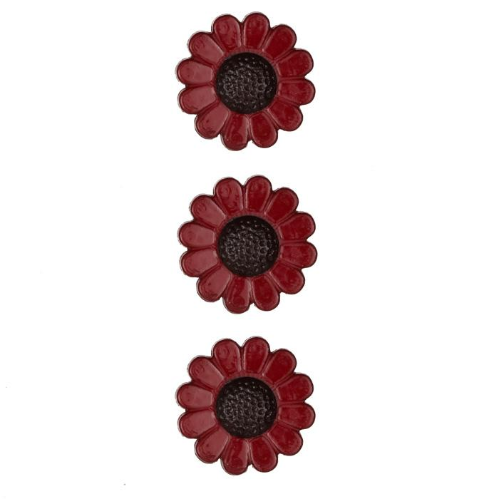Novelty Button 3/4'' Autumn Flowers Red