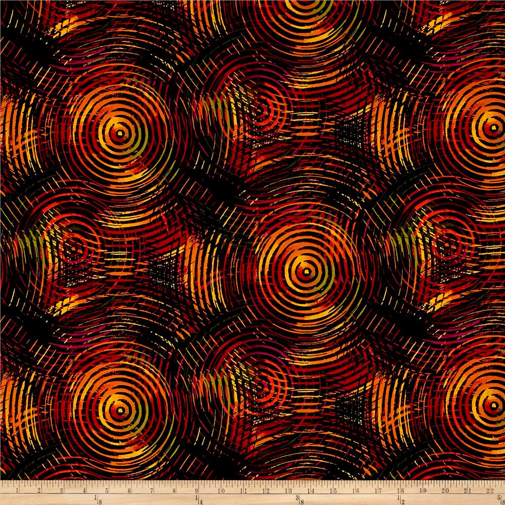 """Circle Play 108"""" Wide Back Ombred Circle Geometric Autumn"""