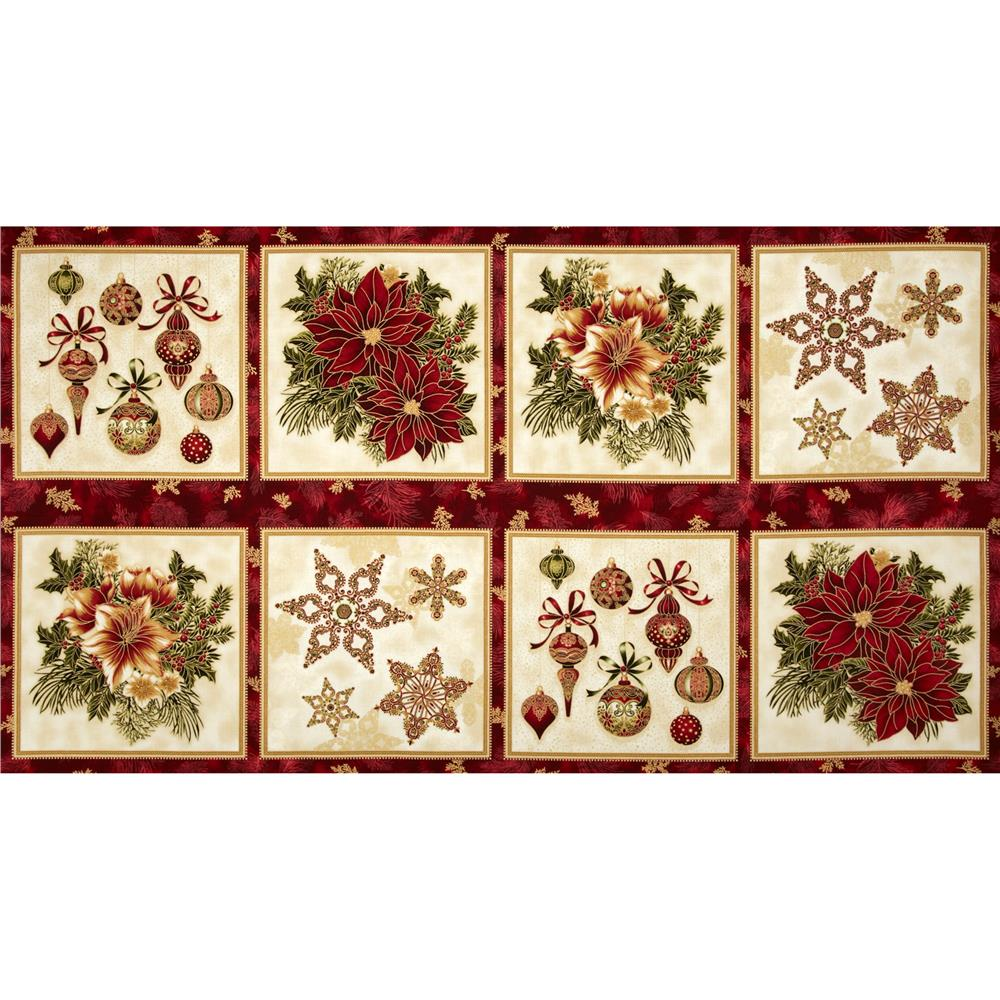 Holiday Flourish Metallic Large Blocks Panel Holiday Red