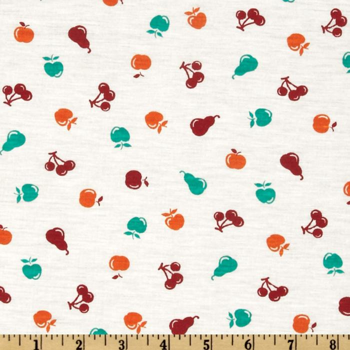 Stretch Rayon Blend Jersey Knit Fruit White/Red/Green