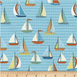 Timeless Treasures Splish Splash Sailboats Aqua