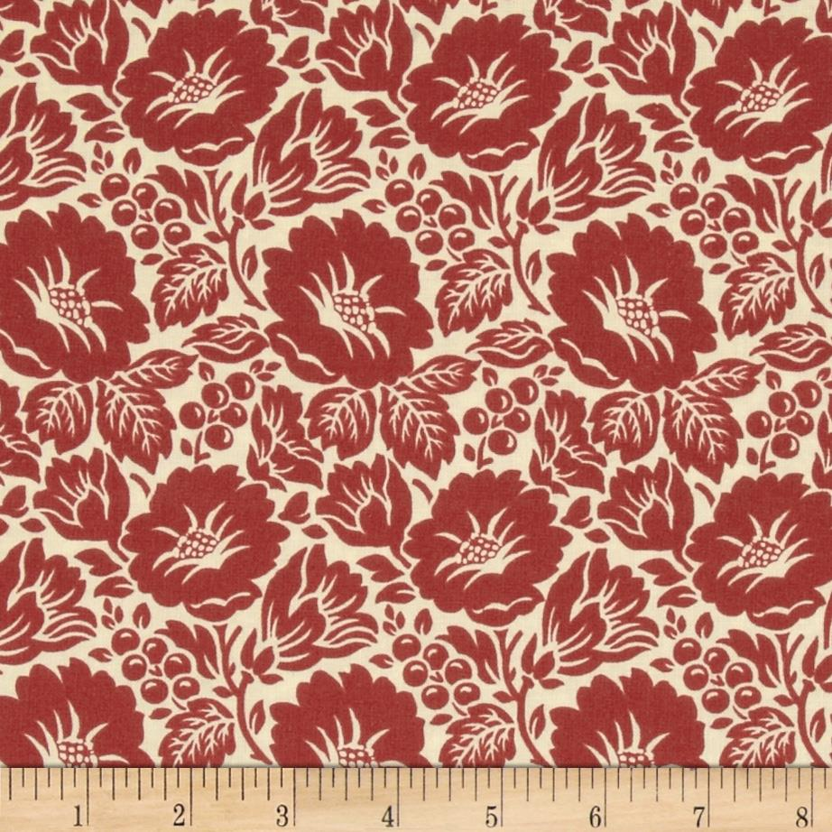 Williamsburg Virginia Large Flower Ivory/Red