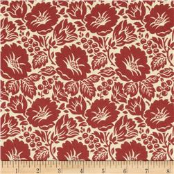 Williamsburg Virginia Large Flower Ivory/Red Fabric