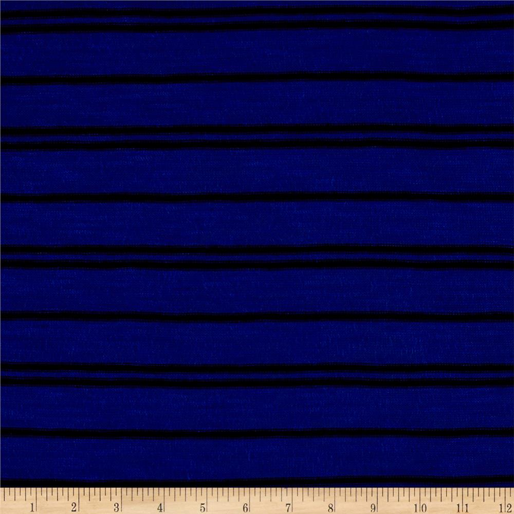 Lightweight Sweater Knit Stripe Royal/Black