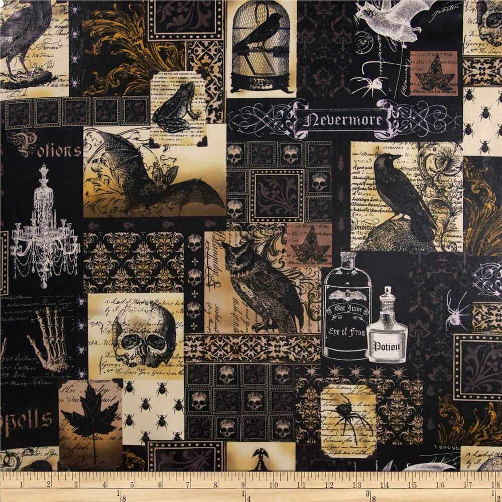 Michael Miller Laminate Nevermore Collage Black