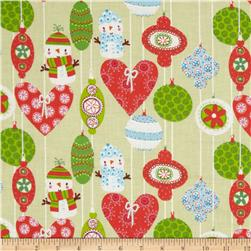Season's Greetings Ornaments Red/Green