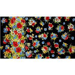 Michael Miller Vintage Florals Bette Black