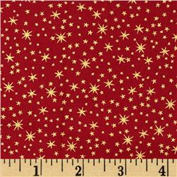 Holiday Metals Metallic Stars Red Fabric