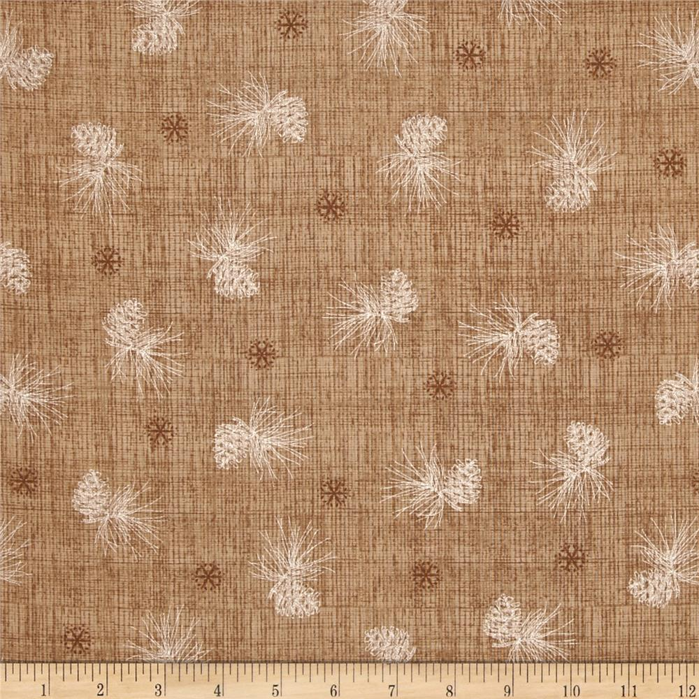 Winter Celebration Pine Cone Texture Medium Brown