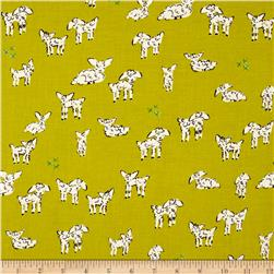 Cotton & Steel Clover Little Lambs Green