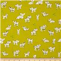 Cotton + Steel Clover Little Lambs Green