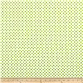 Riley Blake Laminated Cotton Small Dots White/Lime