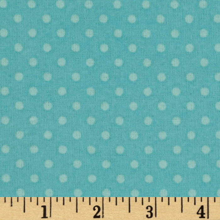 Whoo's Cute Flannel Dots Blue Fabric