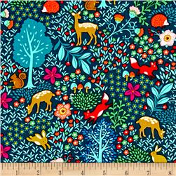 Peaceful Gathering Woodland Animals Teal