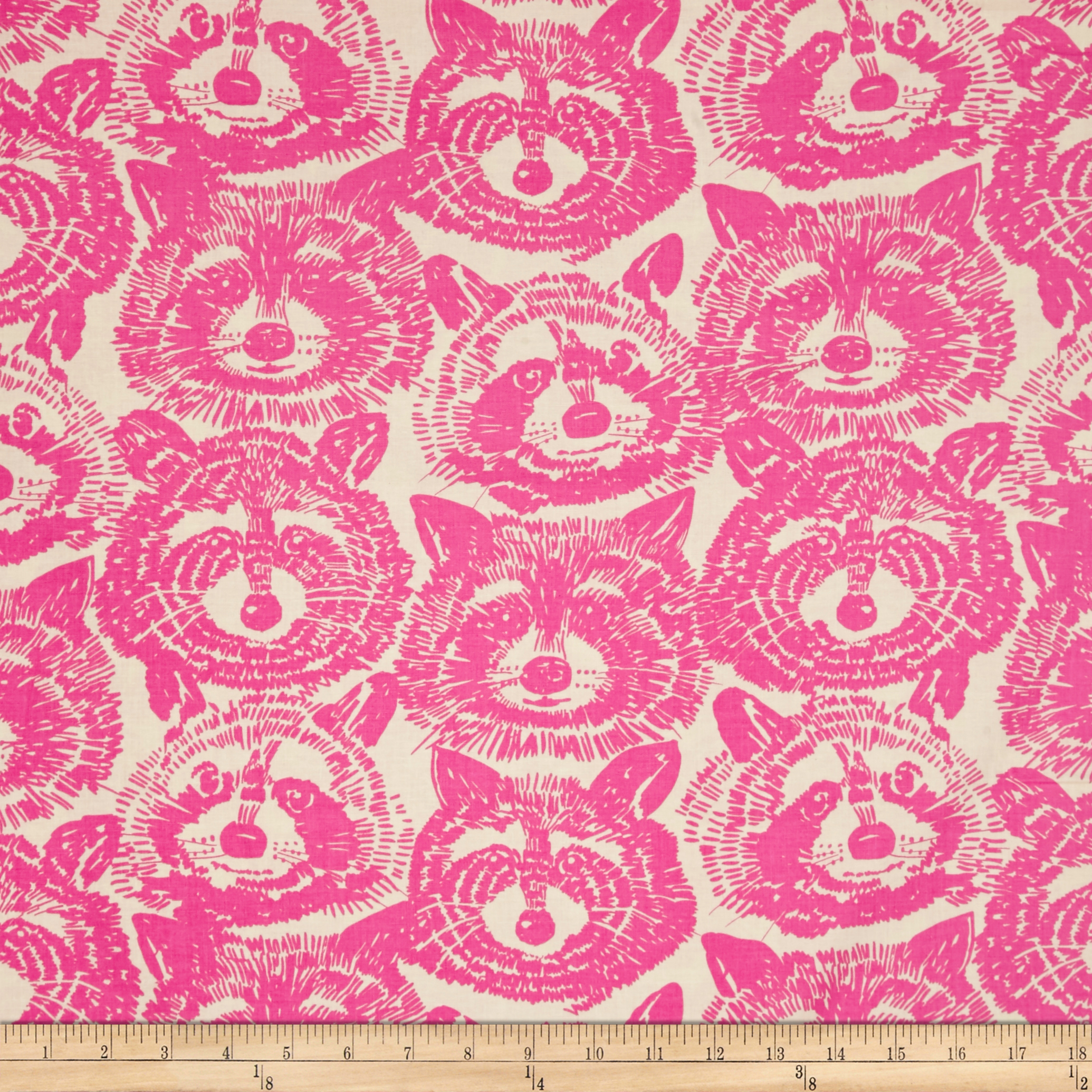 Alexander Henry Nicole's Prints Rocky Raccoon Pink Fabric by Alexander Henry in USA
