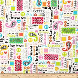 Kanvas Made with Love Sewing Words White