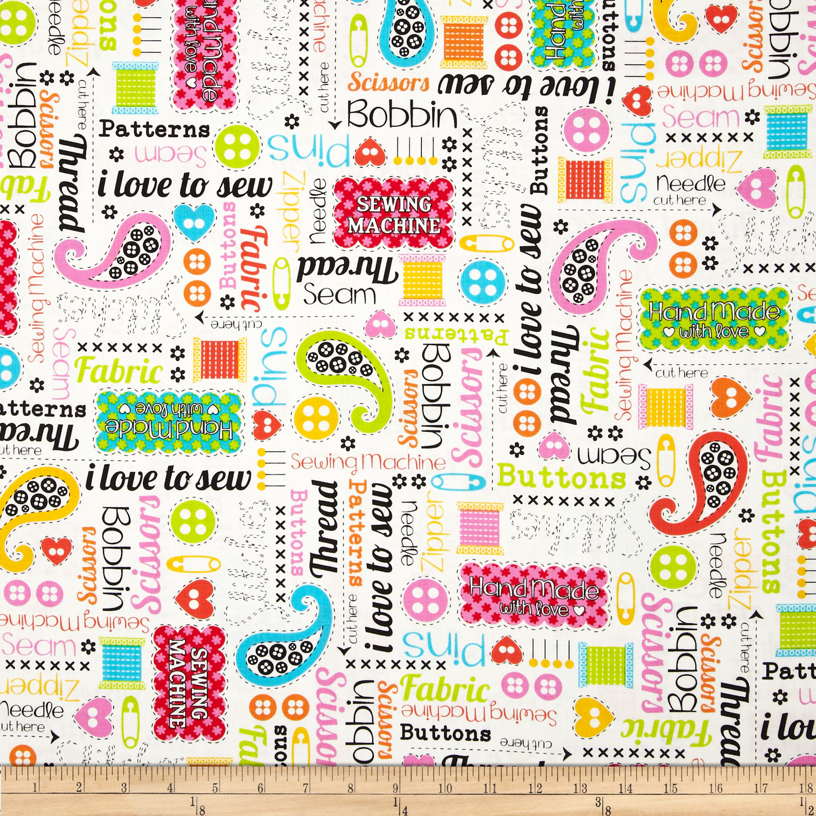 Kanvas Made With Love Sewing Words White Fabric