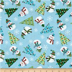 Snowman Christmas Tossed Icons Blue