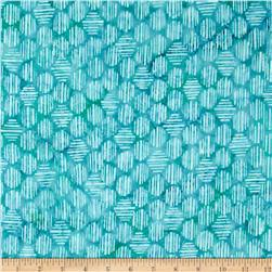 Bali Batiks Handpaints Striped Hexagon Azure Fabric