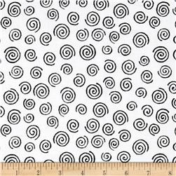 "110"" Wide Quilt Backing Swirl Black/White"