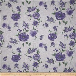 Floral Chambray Grey/Purple/Green Fabric