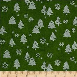 Moda Merry Scriptmas Trees & Snowflakes Evergreen