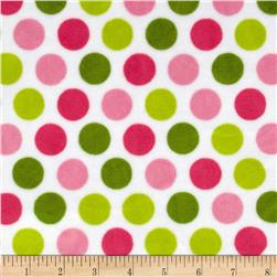 Minky Cuddle Classic Mod Dot Hot Pink/Jade Fabric