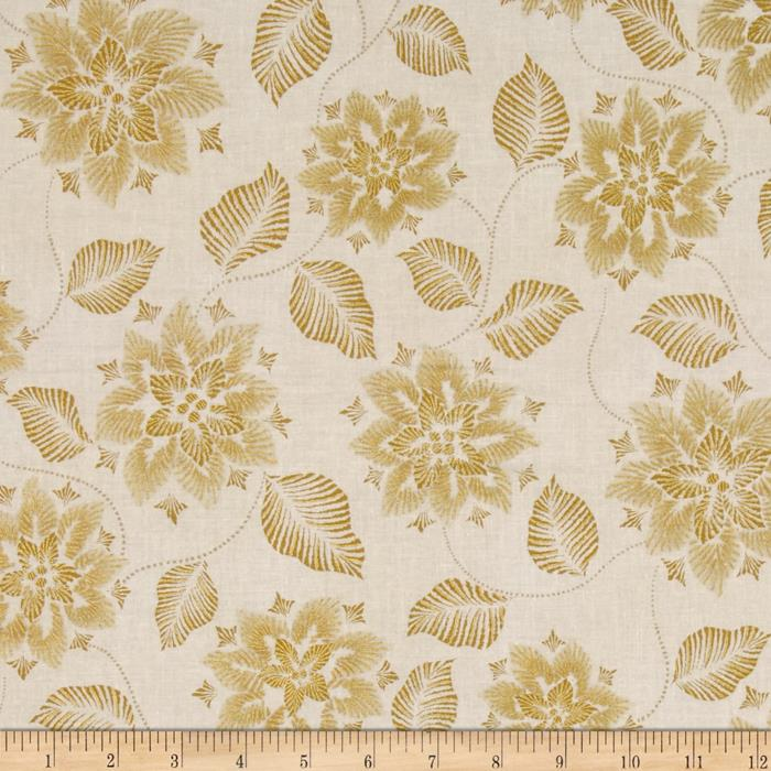 Kaufman Winters Grandeur Metallic Snowflakes & Leaves Ivory