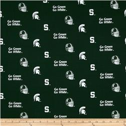 Collegiate Cotton Broadcloth Michigan State Green