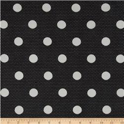 Stretch Chiffon Knit White Dots on Black
