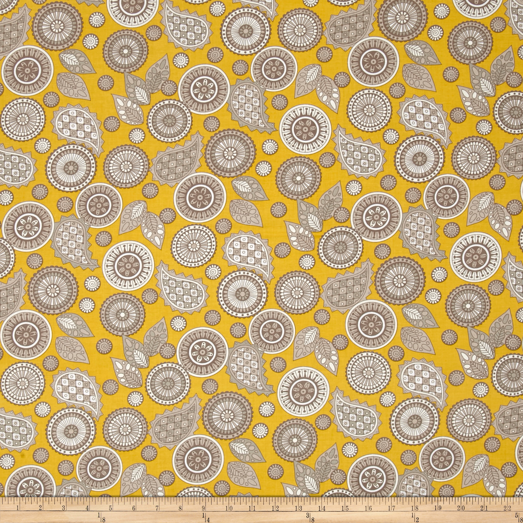 Modern Tyke Paisley Yellow Fabric by Henry Glass in USA