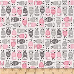 Robert Kaufman Urban Zoologie Mini Owls Pink