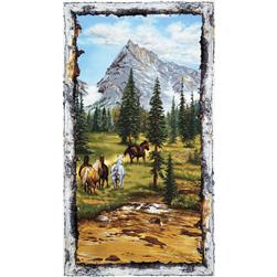 Running Wild Mountain Scene 24'' Panel Grey