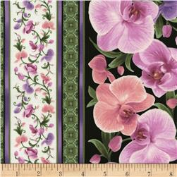 Timeless Treasures Orchids Orchid 11 In. Border Stripe