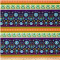 Vibrant Meadow Border Stripe Turquoise/Orange