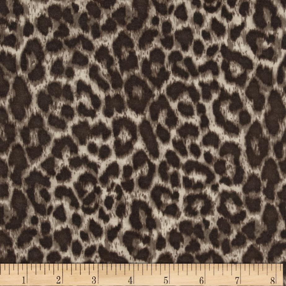 Designer Metallic Jersey Knit Leopard Brown/Silver